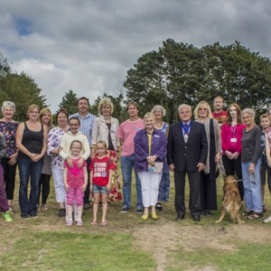 The opening of Neave Close Allotments, Walpole with some of the allotmenters, and representatives from Flagship Housing and Suffolk Coastal District C
